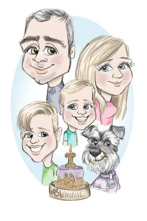 schauzer 1st birthday family caricature portrait commission | picky pencil caricatures