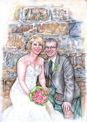 Colour pencil drawing of a happy couple on their wedding day at Banff harbour   picky pencil editorial illustrator
