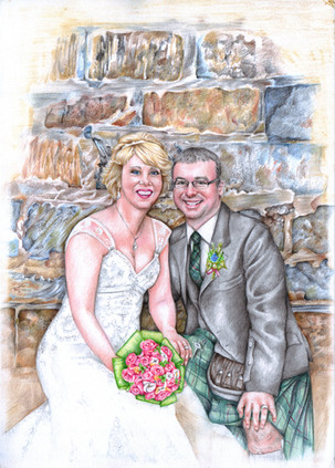 Colour pencil drawing of a happy couple on their wedding day at Banff harbour | picky pencil editorial illustrator