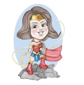 Digital colour caricature long service award personaised presentation wonderwoman theme | picky pencil corporate caricatures