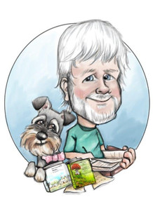 digital caricature drawing for husband of his published books and pet dog | picky pencil birthday caricature