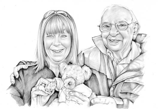 Graphite pencil photo realistic portrait of grandfather and granddaughter | picky pencil