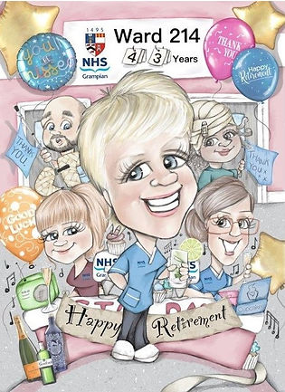 retirement gift caricature nhs nurse | picky pencil caricatures