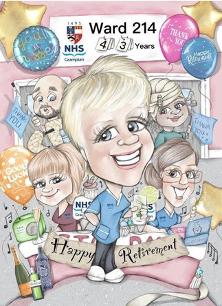 Colour digital caricature personalised retirement gift for NHS Aberdeen nurse | picky pencil caricature commission