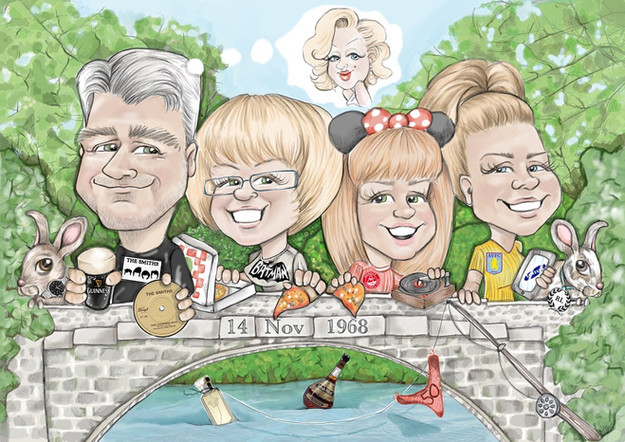 digital colour caricature personalised birthday family commission | picky pencil caricature artist