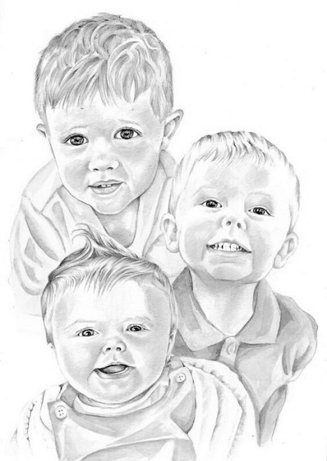 Graphite head and shoulder young siblings group pencil portrait | picky pencil