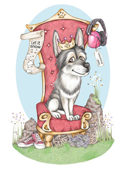 memorial caricature husky drawing loved family pet portrait | picky pencil pet caricatures