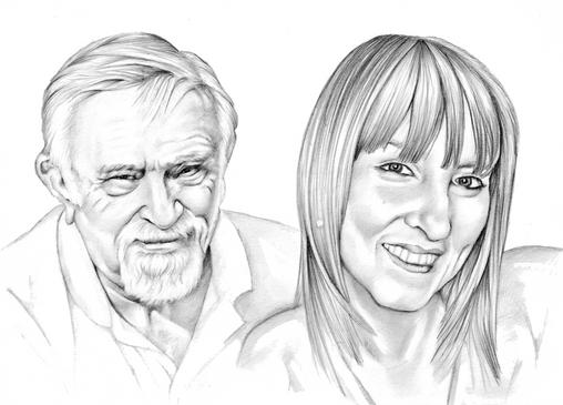 Graphite pencil realistic portrait| father and daughter | picky pencil