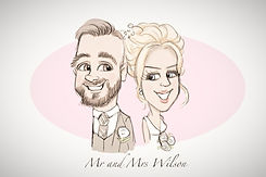 bride and groom colour free caricature drawing from picky pencil wedding entertainment package