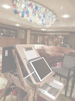 picky pencil event entertainer easel set up to draw live caricatures for guests