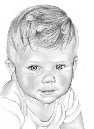 Graphite head and shoulder toddler pencil portrait | picky pencil