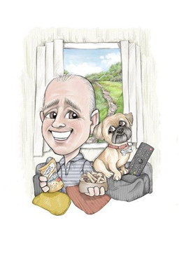 Mans best friend caricature digital drawing for husband birthday commission | picky pencil caricaturist