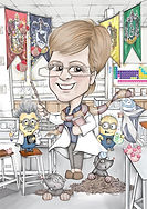 retirement gift caricature for Mintlaw Academy science teacher | picky pencil caricature