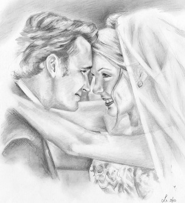 wedding day first kiss newly weds realistic drawing   picky pencil editorial illustration