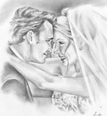 wedding day first kiss newly weds realistic drawing | picky pencil editorial illustration