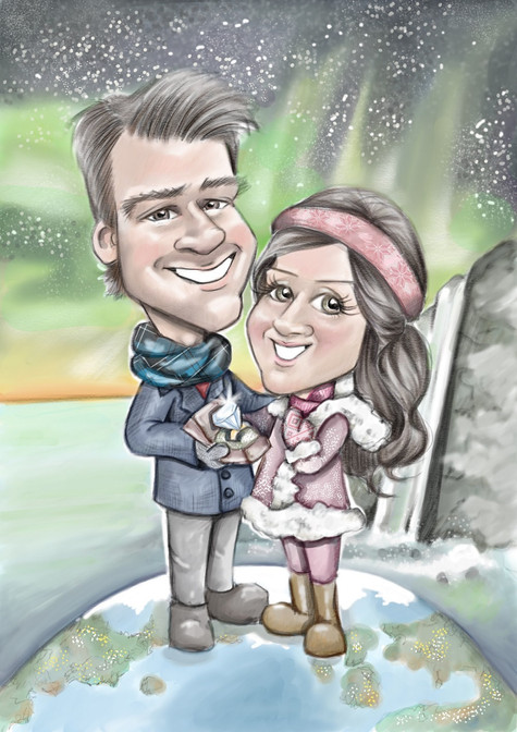 Engagement caricature drawing personalised surprise gift for her   picky pencil caricature commission