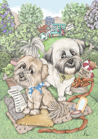 digital colour caricature drawing of family dogs set in their garden birthday commission   picky pencil pet caricature