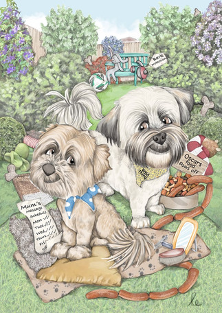 digital colour caricature drawing of family dogs set in their garden birthday commission | picky pencil pet caricature