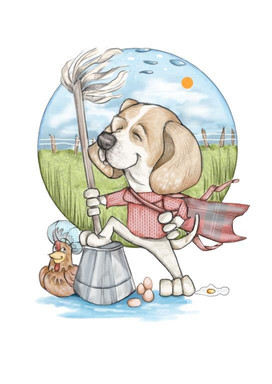 digital drawing beagle as a super hero illustration drawing | picky pencil personal gift caricature