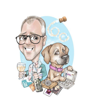 social media guru male friend commission birthday goft with pet dog , music and champagne theme | picky pencil caricature
