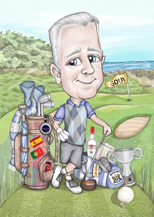 digital caricature illustration drawing golf theme personalised retirement personalised gift idea for men | picky pencil caricaturist