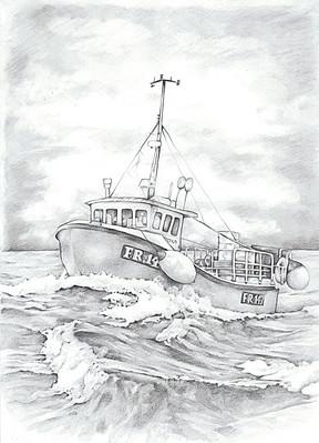 Peterhead fishing boat black and white realistic line illustration   picky pencil editorial illustrator