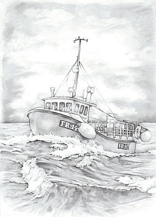 Peterhead fishing boat black and white realistic line illustration | picky pencil editorial illustrator