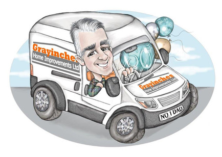 digital caricature birthday commission for dad and his van | picky pencil caricature