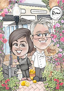 Mum and Dad wedding anniversary digital caricature | picky pencil caricature