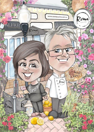 roma australian cafe happy couple anniversary caricature commission ? picky pencil caricatures