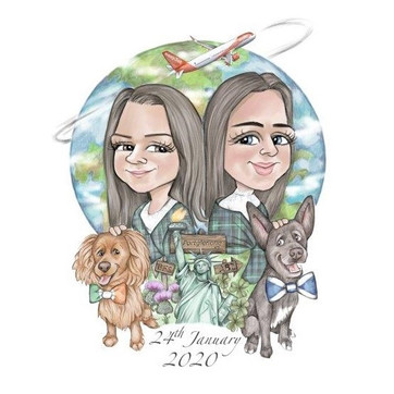 wedding gift personalised caricature drawing for friends new york world travel theme | picky pencil gift caricature