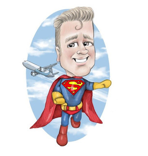 long service personalised corporate caricature drawing commission superman dc theme illustration | picky pencil corporate caricatures