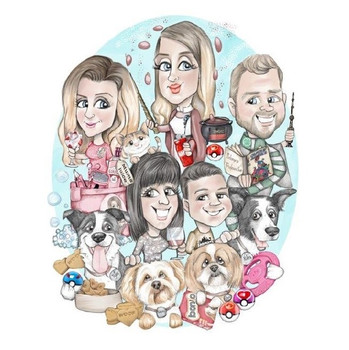 extended family caricature portrait for mum, granny birthday commission personalised gift | picky pencil caricature