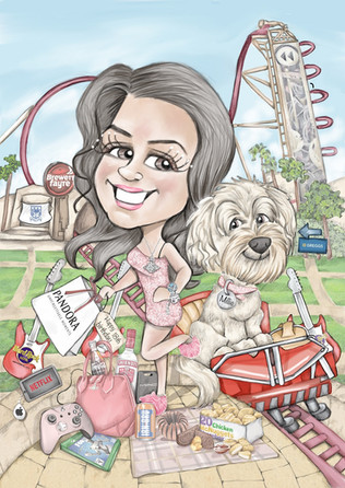 digital colour caricature 18th birthday drawing with pet dog   picky pencil caricature