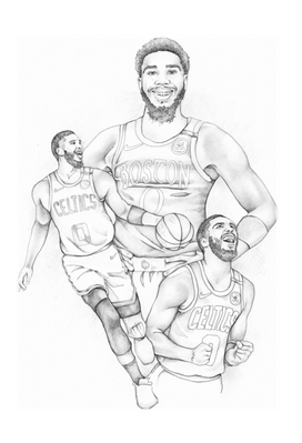 jayson tatum boston celtics graphite pencil illustration   picky pencil editorial illustrator