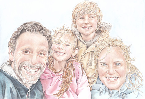 colour pencil family selphy on a hike in scotland   picky pencil editorial illustrator