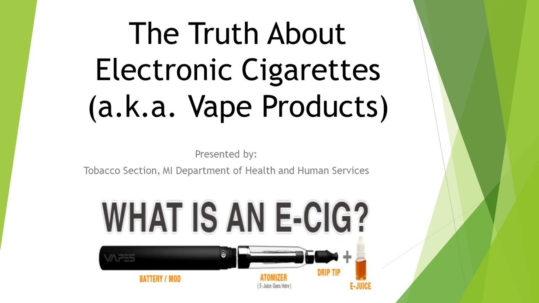 The Truth About Electronic Cigarettes (a.k.a. Vape Products)