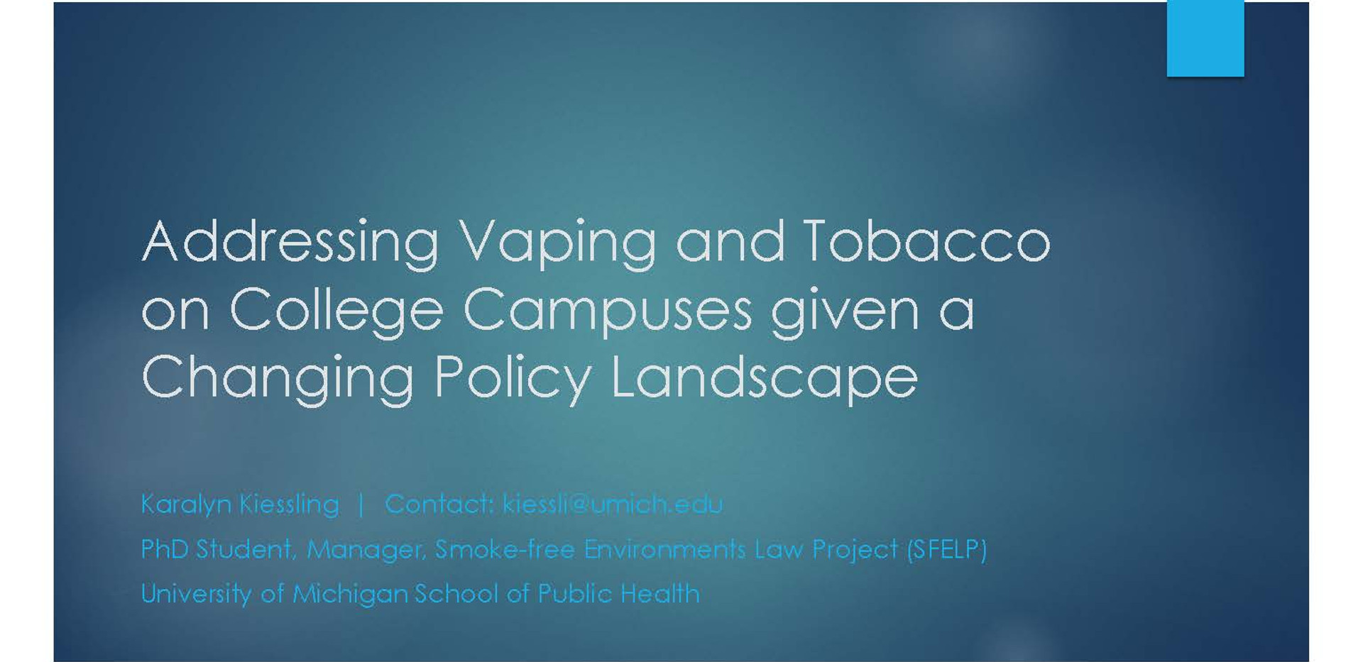 Addressing Vaping and Tobacco on College