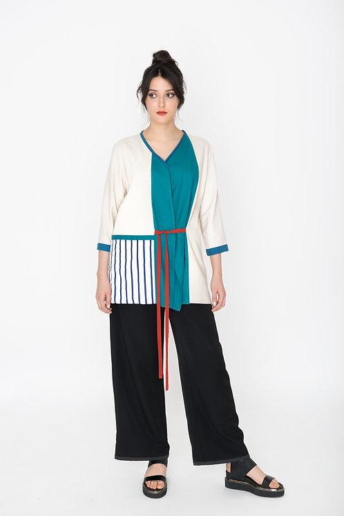 Kimonojacke Streifenblau