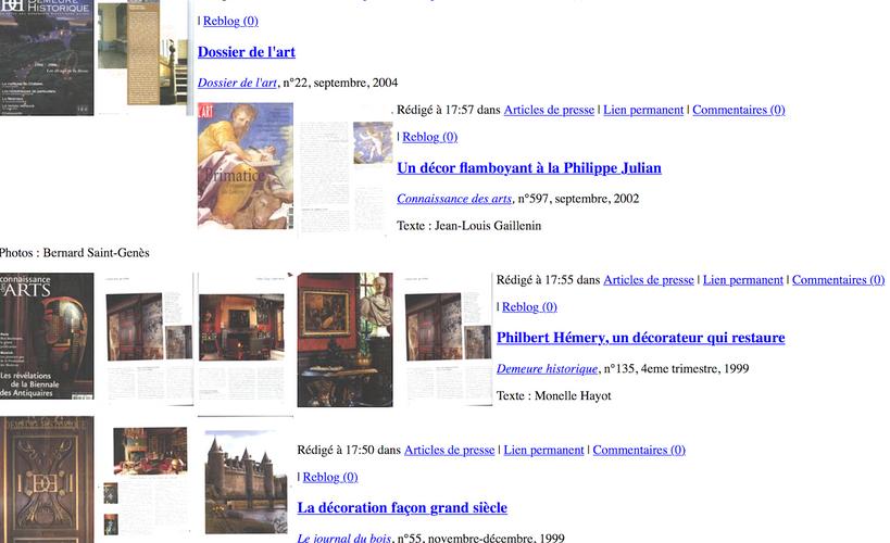 """Articles de presse parus dans""""Connaissance des arts"""" , """"AD"""" ,""""La demeure historique """"etc..."""
