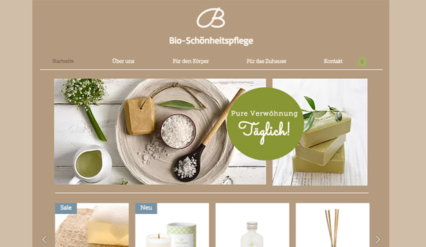 Online-Shop website templates –  Bio-Pflegeprodukte
