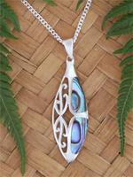 NZ Paua Shell Silver Pendant  (3082bx)