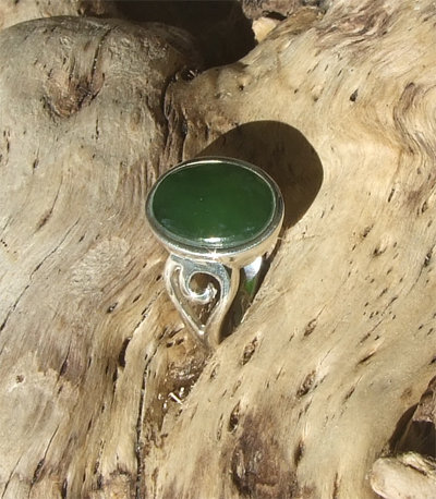 """Love Koru-Frond"" NZ Greenstone Pounamu Sterling Silver Ring G7303A"