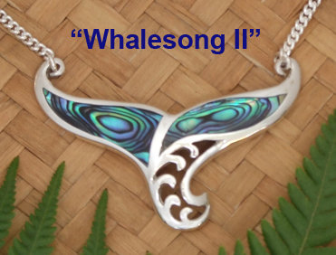 "Beautiful ""Whale-Song II"" NZ Paua Shell Sterling Silver Necklace  3088"