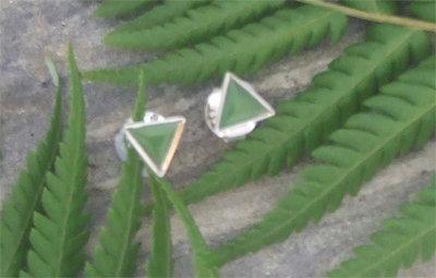 """""""Triangle"""" NZ Greenstone Sterling Silver Stud Earrings G2405BX"""