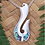"Thumbnail: ""Rei-Matau"" Sterling Silver Fish-Hook Design Paua Pendant 3077"