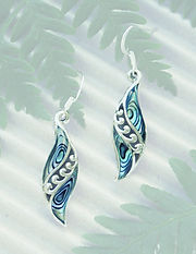 Rei Jewellery - Angels Wings-NZ Jewelry - Original design by Ray Fransham - NZ Abalone - New Zealand Paua Silver Earring (2356bx) - online shop