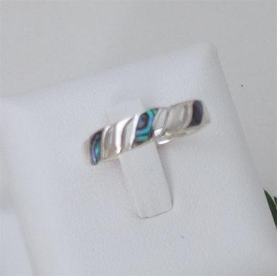 """Infinity"" NZ Paua Ring n Sterling - 7052Bx"