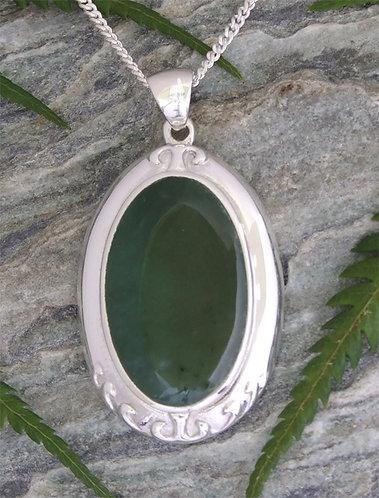 "NZ Greenstone Silver Pendant  ""Inanga""  (G3402bx)"