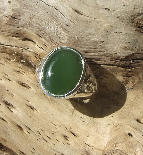 """Dreams"" NZ Jade Sterling Silver Ring size N to T  G7302A"